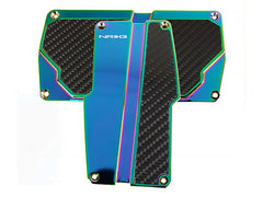 NRG Brushed Aluminum Sport Pedal Neochrome w/ Black Carbon A/T