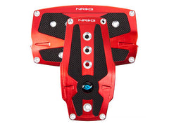 NRG Brushed Red Aluminum Sport Pedal w/ Black Rubber Inserts A/T