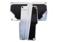 NRG Brushed Aluminum Sport Pedal Silver w/ Black Carbon A/T