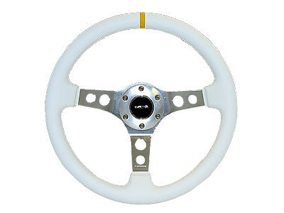 "NRG Sport Steering Wheel 350MM 2"" Deep (White Leather / White Stitching)"