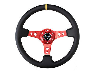 "NRG Sport Steering Wheel 350MM 3"" Deep (Red / Yellow Center Marking)"