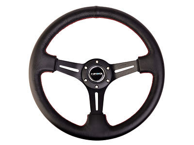 "NRG Sport Steering Wheel 350MM 2"" Deep (Black Leather / Red Stitching)"