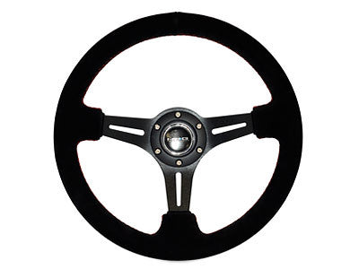 "NRG Sport Steering Wheel 350MM 2"" Deep (Black Suede / Red Stitching)"
