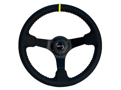 "NRG Sport Steering Wheel 350MM 3"" Deep (Black Leather / Red BB Stitch / Black Center)"