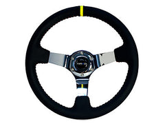 "NRG Sport Steering Wheel 350MM 3"" Deep (Black Leather / Red BB Stitch / Chrome Center)"