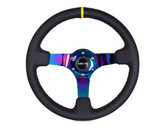 "NRG Sport Steering Wheel 350MM 3"" Deep (Black / Neochrome / Yellow Marking)"