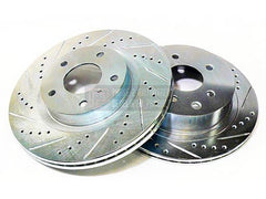 P2M Front Brake Rotors 1989-1998 Nissan 240SX S13, S14 (Cross Drilled / Slotted)
