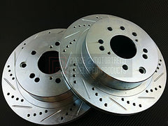 P2M Front Brake Rotors 2003-2004 Infiniti G35 Non-Brembo (Cross Drilled / Slotted)