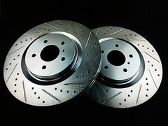 P2M Front Brake Rotors 2009-2014 Infiniti G37 Akebono (Cross Drilled / Slotted)