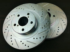 P2M Front Brake Rotors 2013-2015 Subaru BRZ (Cross Drilled / Slotted)