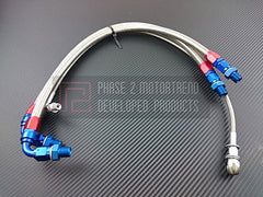 P2M Steel Braided Turbo Line Kit 1989-2002 Nissan 240SX, S14, S15, SR20DET (Top Mount)