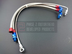P2M Steel Braided Turbo Line Kit 1989-1994 Nissan 240SX, S13, SR20DET (Top Mount)