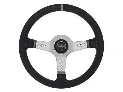 Sparco L777 Piuma Series 350MM Black Suede / Silver Spokes Steering Wheel