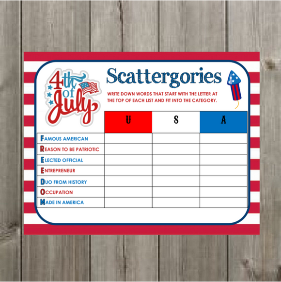 4th of July Scattergories Printable Game