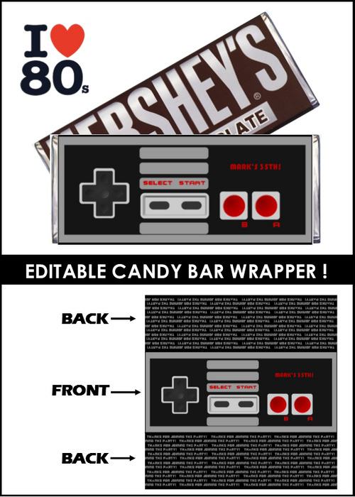 80'S Party Candy Bar Wrapper -EDITABLE