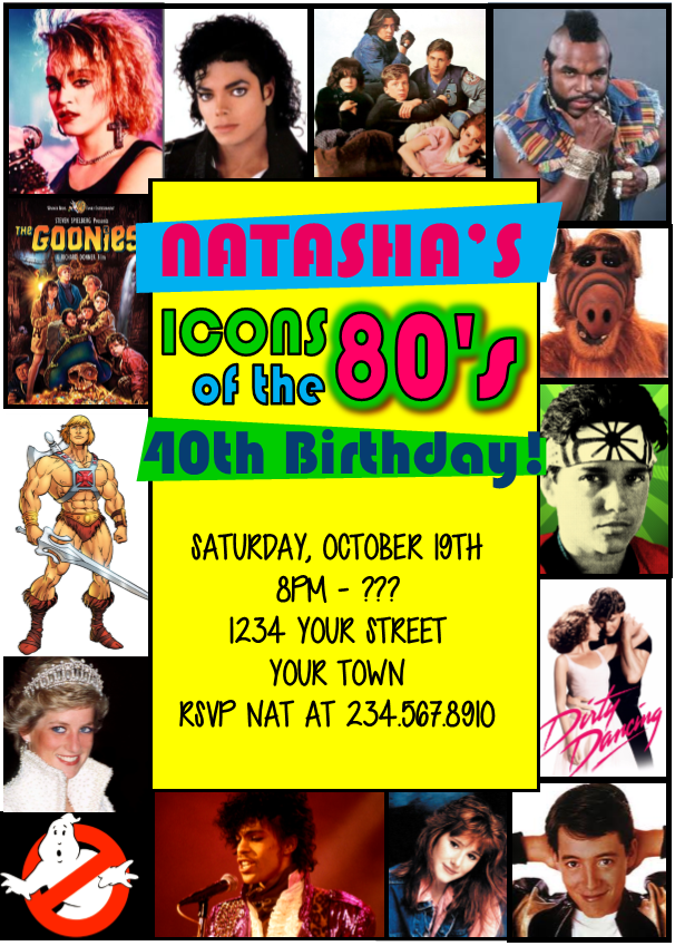 Totally 80's Party Invitation  Style1 - EDITABLE