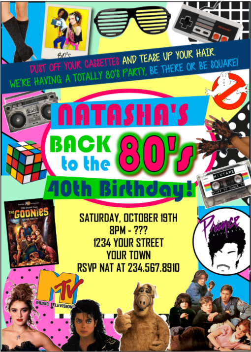 Totally 80's Party Invitation  Style2 - EDITABLE