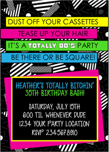 Totally 80's Party Invitation  Style4 - EDITABLE