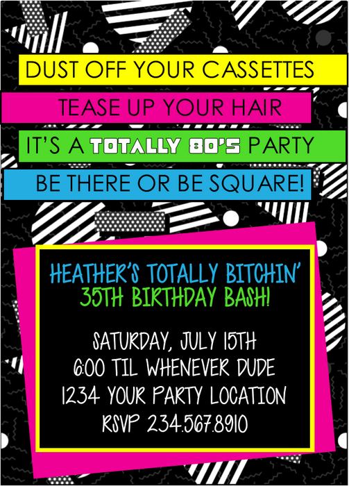 totally 80 s party invitation style4 editable partygamesplus