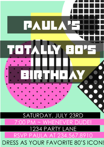 Totally 80's Party Invitation  Style5 - EDITABLE