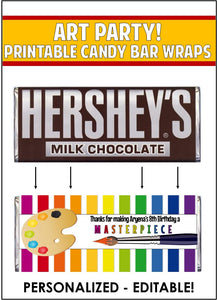 Art Party Candy Bar Wrapper -EDITABLE