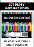Art Party Candy Bar Wrappers - EDITABLE