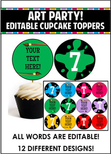 Art Party Cupcake Toppers - EDITABLE