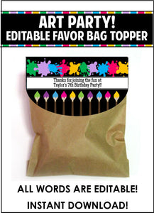 Art Party Time Bag Toppers - EDITABLE