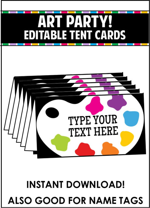 Art Party Supplies - Editable Tent Cards