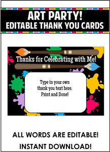 Art Party Thank You Card - EDITABLE