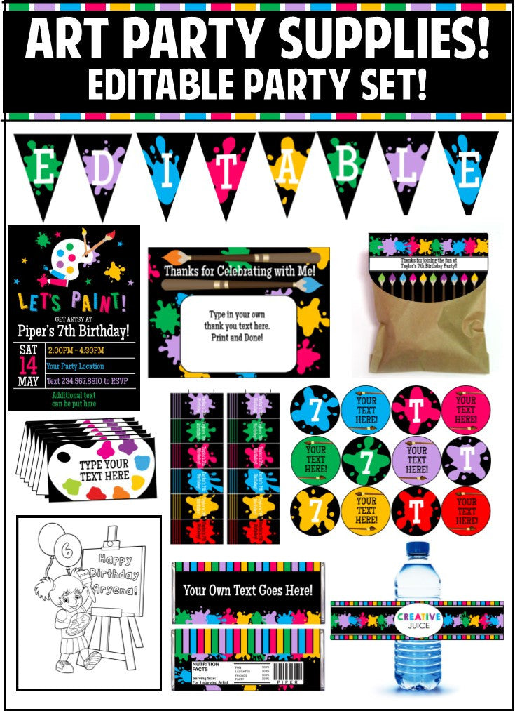 Art Party Party Printables - EDITABLE