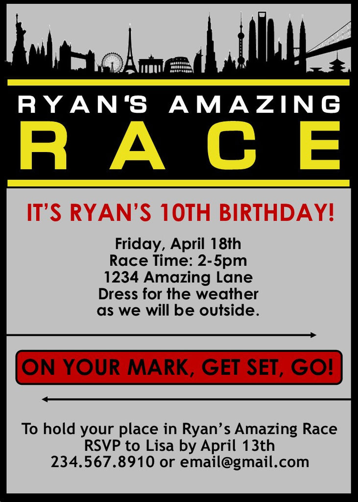 Amazing race party invitations editable partygamesplus for Amazing race birthday party templates