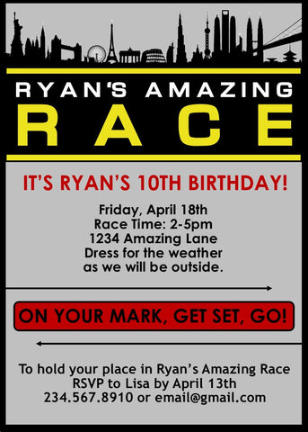 Amazing Race Party Invitations - EDITABLE!