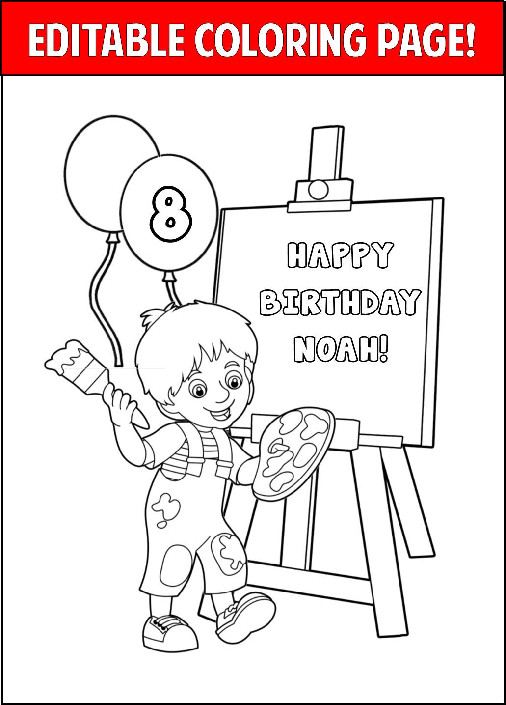 art party personalized coloring page editable