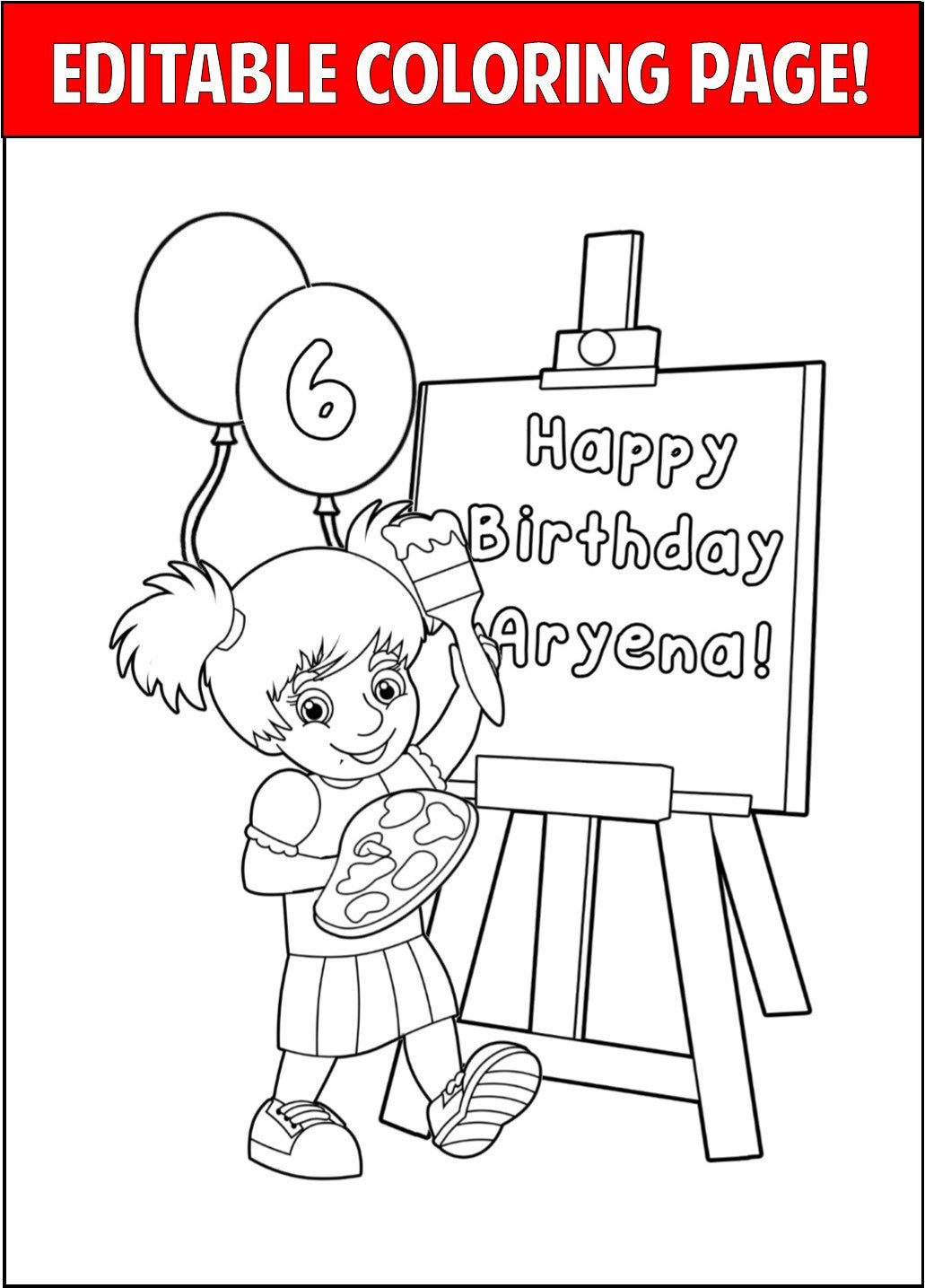 Art Party Personalized Coloring Page  - EDITABLE