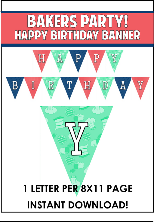 Baker's Party Happy Birthday Banner