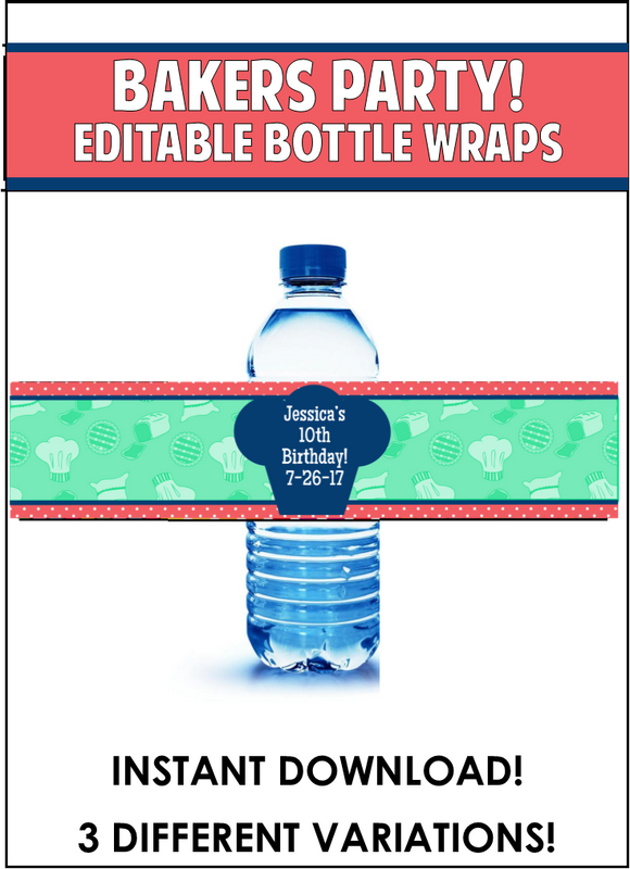 Baking Party Drink Labels - EDITABLE