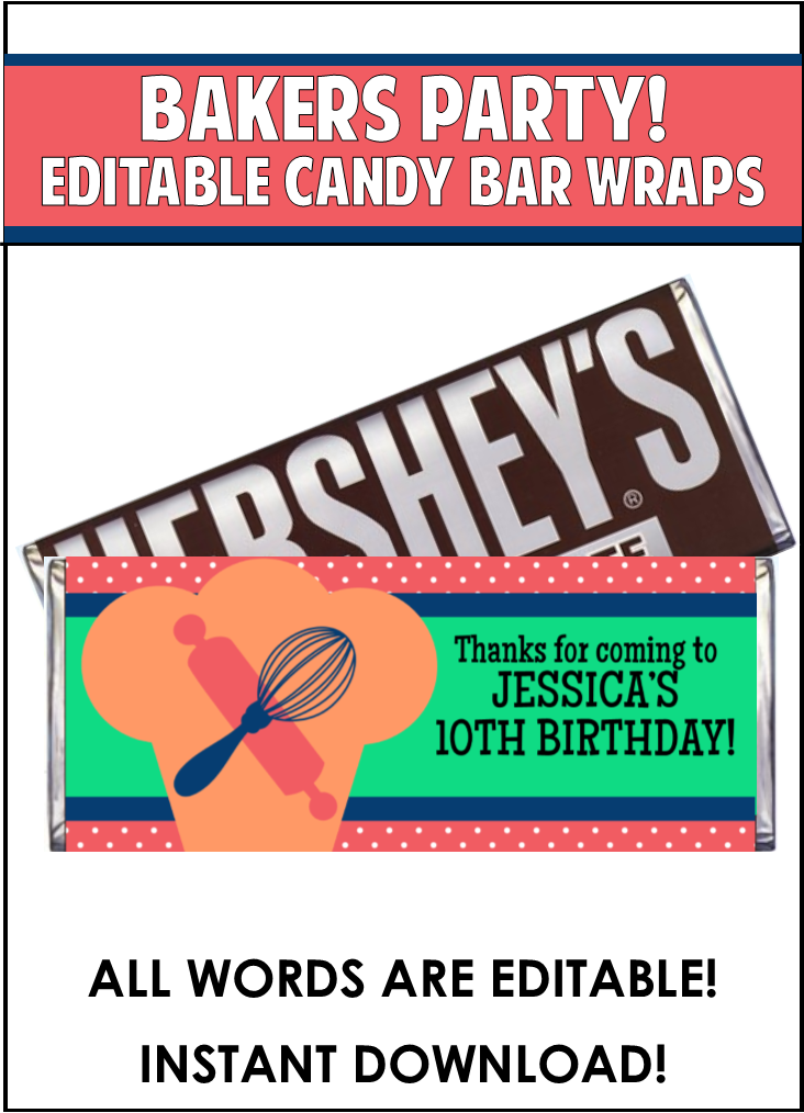 Baking Candy Bar Wrappers - EDITABLE