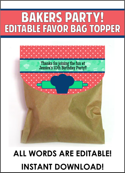 Baker's Party Favor Bag Toppers - EDITABLE