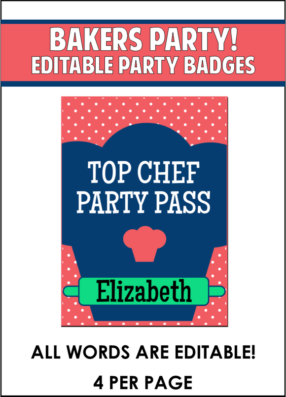 Baking Party Badges - EDITABLE