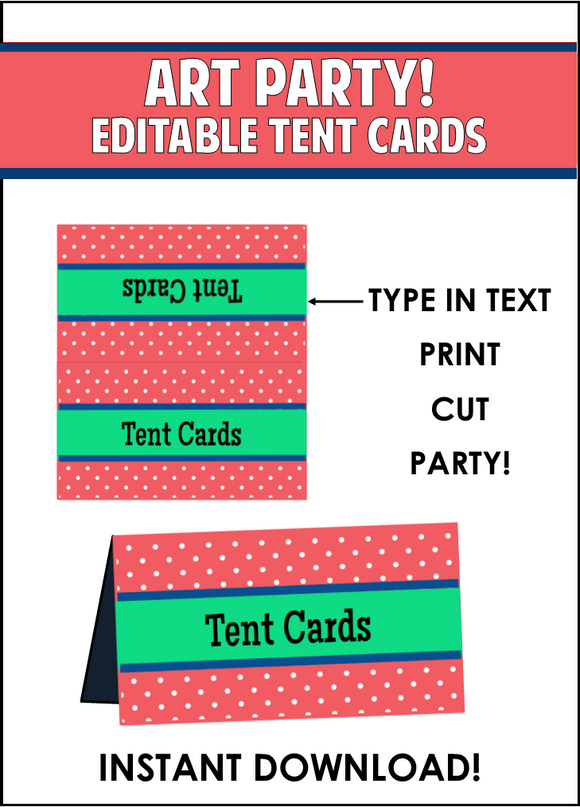 Baking Party Supplies - Editable Tent Cards