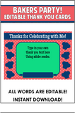 Baker's Party Thank You Notes - EDITABLE