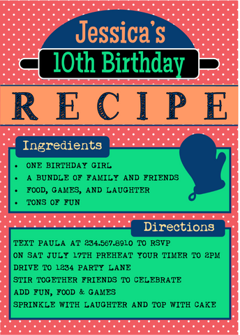 Baker's Party Invitation - EDITABLE