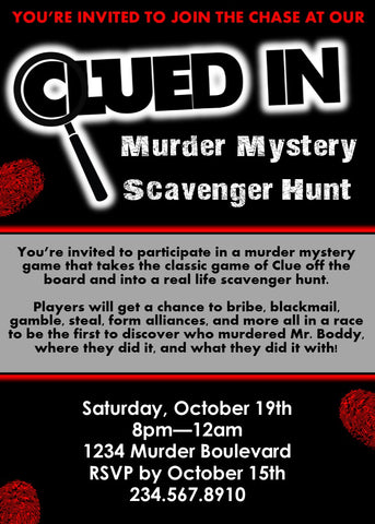 Clued-In Murder Mystery Invitation - Editable