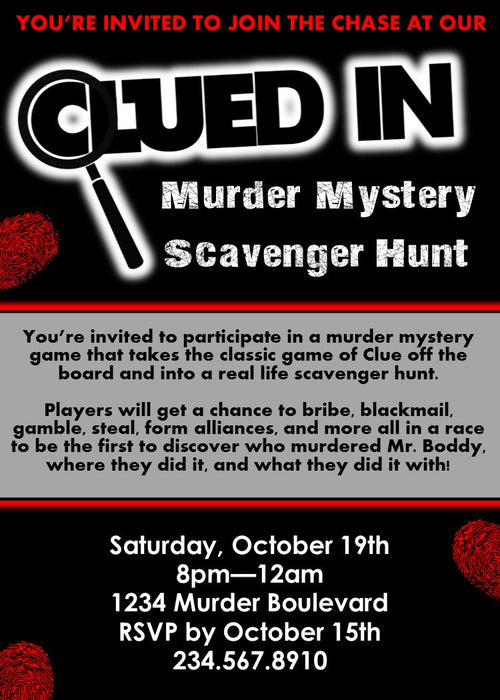 Clued-In Murder Mystery Hunt + Party Invitation - EDITABLE