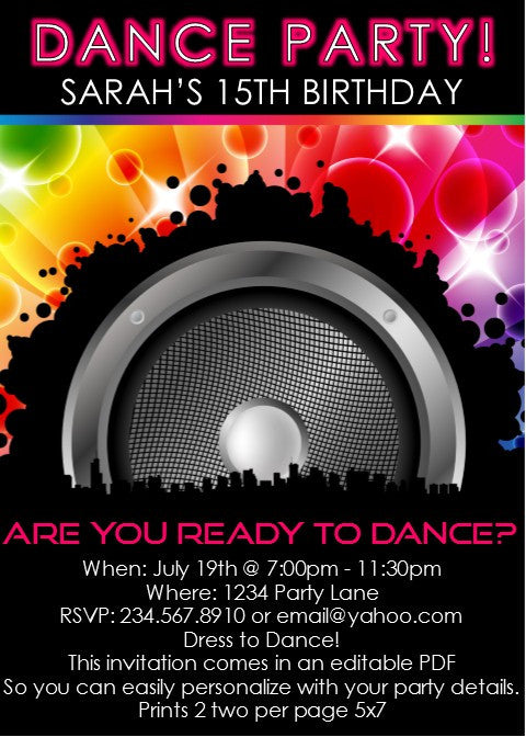 Dance Time Invitation - Editable