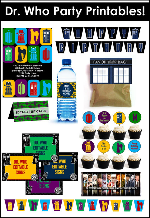 Doctor Who Party Printables - EDITABLE!