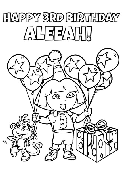 personalized birthday coloring pages | Dora the Explorer Coloring Page - PERSONALIZED ...
