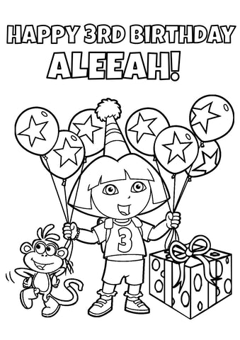 Dora the Explorer Coloring Page  - PERSONALIZED