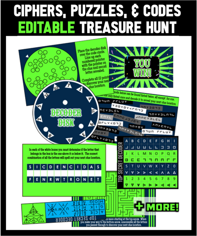 Ciphers, Puzzles, and Codes Treasure Hunt - EDITABLE!